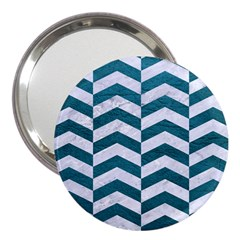 Chevron2 White Marble & Teal Leather 3  Handbag Mirrors by trendistuff