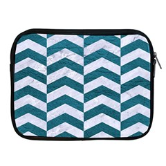 Chevron2 White Marble & Teal Leather Apple Ipad 2/3/4 Zipper Cases by trendistuff