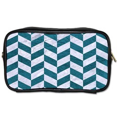 Chevron1 White Marble & Teal Leather Toiletries Bags by trendistuff