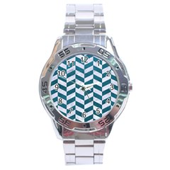 Chevron1 White Marble & Teal Leather Stainless Steel Analogue Watch by trendistuff
