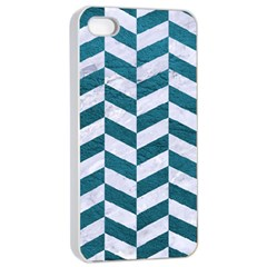 Chevron1 White Marble & Teal Leather Apple Iphone 4/4s Seamless Case (white) by trendistuff