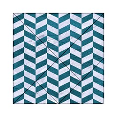 Chevron1 White Marble & Teal Leather Acrylic Tangram Puzzle (6  X 6 ) by trendistuff