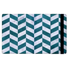 Chevron1 White Marble & Teal Leather Apple Ipad 3/4 Flip Case by trendistuff