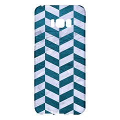 Chevron1 White Marble & Teal Leather Samsung Galaxy S8 Plus Hardshell Case