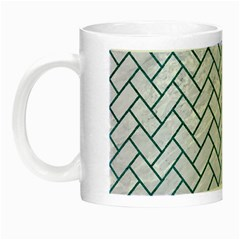 Brick2 White Marble & Teal Leather (r) Night Luminous Mugs by trendistuff