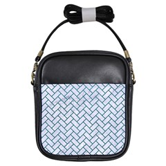 Brick2 White Marble & Teal Leather (r) Girls Sling Bags by trendistuff