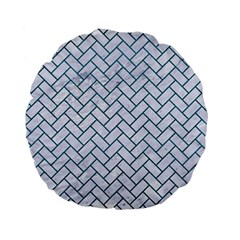 Brick2 White Marble & Teal Leather (r) Standard 15  Premium Flano Round Cushions by trendistuff