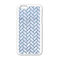 Brick2 White Marble & Teal Leather (r) Apple Iphone 6/6s White Enamel Case by trendistuff