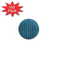 Brick2 White Marble & Teal Leather 1  Mini Magnets (100 Pack)  by trendistuff