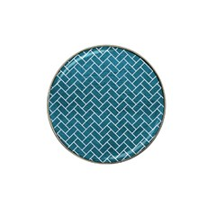 Brick2 White Marble & Teal Leather Hat Clip Ball Marker (4 Pack) by trendistuff
