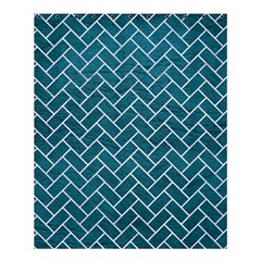 Brick2 White Marble & Teal Leather Shower Curtain 60  X 72  (medium)  by trendistuff