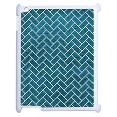 Brick2 White Marble & Teal Leather Apple Ipad 2 Case (white) by trendistuff