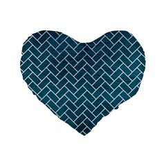 Brick2 White Marble & Teal Leather Standard 16  Premium Flano Heart Shape Cushions by trendistuff
