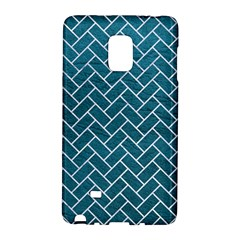 Brick2 White Marble & Teal Leather Galaxy Note Edge by trendistuff