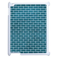 Brick1 White Marble & Teal Leather Apple Ipad 2 Case (white) by trendistuff