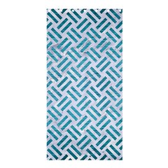 Woven2 White Marble & Teal Brushed Metal (r) Shower Curtain 36  X 72  (stall)  by trendistuff