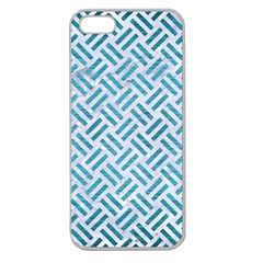 Woven2 White Marble & Teal Brushed Metal (r) Apple Seamless Iphone 5 Case (clear) by trendistuff