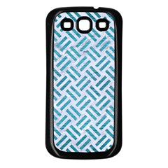 Woven2 White Marble & Teal Brushed Metal (r) Samsung Galaxy S3 Back Case (black) by trendistuff