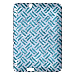 Woven2 White Marble & Teal Brushed Metal (r) Kindle Fire Hdx Hardshell Case by trendistuff
