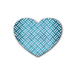 Woven2 White Marble & Teal Brushed Metal Heart Coaster (4 Pack)  by trendistuff