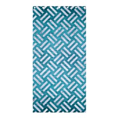 Woven2 White Marble & Teal Brushed Metal Shower Curtain 36  X 72  (stall)  by trendistuff