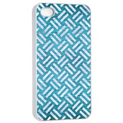 Woven2 White Marble & Teal Brushed Metal Apple Iphone 4/4s Seamless Case (white) by trendistuff