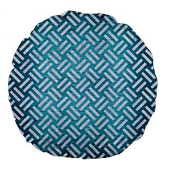 Woven2 White Marble & Teal Brushed Metal Large 18  Premium Flano Round Cushions by trendistuff