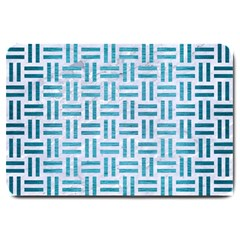 Woven1 White Marble & Teal Brushed Metal (r) Large Doormat  by trendistuff