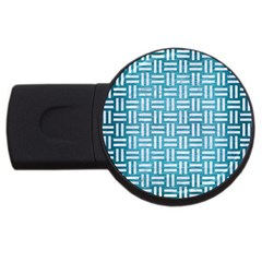 Woven1 White Marble & Teal Brushed Metal Usb Flash Drive Round (4 Gb) by trendistuff