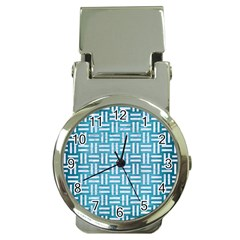Woven1 White Marble & Teal Brushed Metal Money Clip Watches by trendistuff