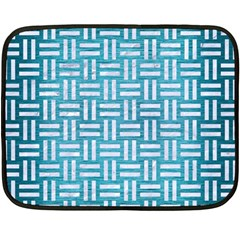 Woven1 White Marble & Teal Brushed Metal Fleece Blanket (mini) by trendistuff