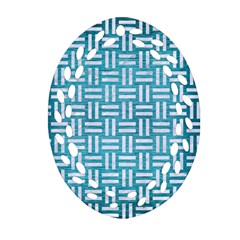 Woven1 White Marble & Teal Brushed Metal Oval Filigree Ornament (two Sides) by trendistuff