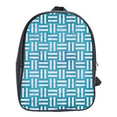 Woven1 White Marble & Teal Brushed Metal School Bag (xl) by trendistuff