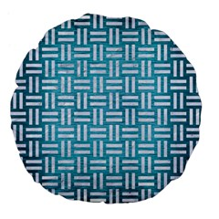 Woven1 White Marble & Teal Brushed Metal Large 18  Premium Flano Round Cushions by trendistuff