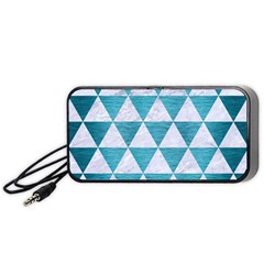 Triangle3 White Marble & Teal Brushed Metal Portable Speaker by trendistuff