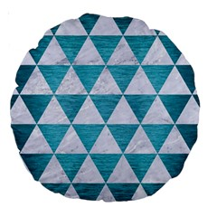 Triangle3 White Marble & Teal Brushed Metal Large 18  Premium Round Cushions by trendistuff