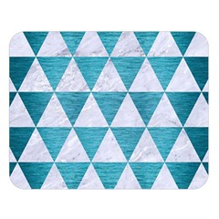 Triangle3 White Marble & Teal Brushed Metal Double Sided Flano Blanket (large)