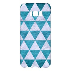 Triangle3 White Marble & Teal Brushed Metal Samsung Galaxy S8 Plus Hardshell Case  by trendistuff