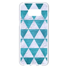 Triangle3 White Marble & Teal Brushed Metal Samsung Galaxy S8 Plus White Seamless Case by trendistuff