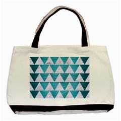 Triangle2 White Marble & Teal Brushed Metal Basic Tote Bag by trendistuff