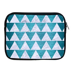 Triangle2 White Marble & Teal Brushed Metal Apple Ipad 2/3/4 Zipper Cases by trendistuff