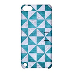 Triangle1 White Marble & Teal Brushed Metal Apple Ipod Touch 5 Hardshell Case With Stand by trendistuff