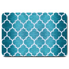 Tile1 White Marble & Teal Brushed Metal Large Doormat  by trendistuff