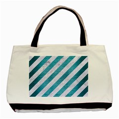 Stripes3 White Marble & Teal Brushed Metal (r) Basic Tote Bag by trendistuff