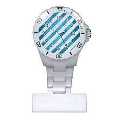 Stripes3 White Marble & Teal Brushed Metal (r) Plastic Nurses Watch by trendistuff