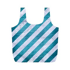 Stripes3 White Marble & Teal Brushed Metal (r) Full Print Recycle Bags (m)  by trendistuff