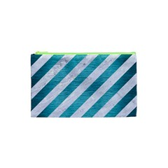 Stripes3 White Marble & Teal Brushed Metal (r) Cosmetic Bag (xs) by trendistuff