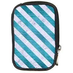 Stripes3 White Marble & Teal Brushed Metal Compact Camera Cases by trendistuff