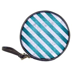 Stripes3 White Marble & Teal Brushed Metal Classic 20 Cd Wallets by trendistuff