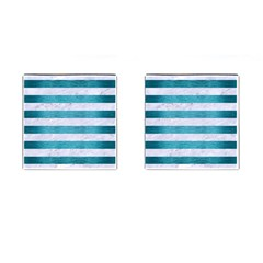 Stripes2white Marble & Teal Brushed Metal Cufflinks (square) by trendistuff